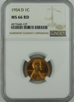 :1954-D 1C LINCOLN CENT LOW POP KEY DATE NGC MINT STATE 66 RD CHERRY-RED HIGHEST GRADES