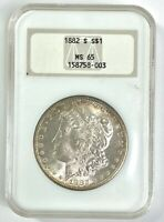 NGC MINT STATE 65 1882-S MORGAN SILVER DOLLAR - VINTAGE LABEL LC336