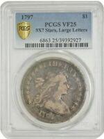 1797 DRAPED BUST DOLLAR $ 9X7 STARS, LG. LETTERS VF25 PCGS SECURE 942953-9