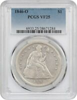 1846-O $1 PCGS VF25 - POPULAR NEW ORLEANS ISSUE - LIBERTY SEATED DOLLAR