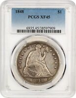 1848 $1 PCGS EXTRA FINE 45 - LIBERTY SEATED DOLLAR - LOW MINTAGE ISSUE