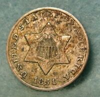 1851 THREE CENT SILVER BETTER GRADE DETAILS   UNITED STATES