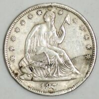 1877 SEATED LIBERTY SILVER HALF DOLLAR 50C AU DETAILS NO RES