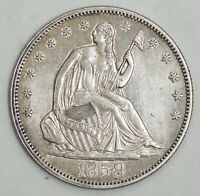 1858 SEATED LIBERTY SILVER HALF DOLLAR 50C AU DETAILS NO RES