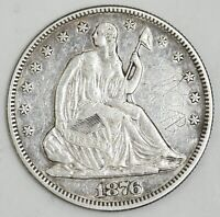1876 SEATED LIBERTY SILVER HALF DOLLAR 50C AU DETAILS NO RES