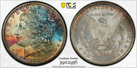 1881-S PCGS MINT STATE 64 MORGAN - EOR TONE  PATRIOTIC RED WHITE AND BLUE COLORS