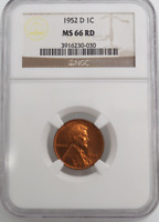 :1952-D 1C LINCOLN CENT LOW POP KEY DATE NGC MINT STATE 66 RD AUBURN-RED HIGHEST GRADES