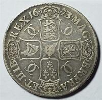 GREAT BRITAIN CROWN 1673/2 FINE CLEANED CHARLES II SILVER