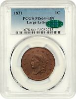 1831 1C PCGS/CAC MINT STATE 64 BN LARGE LETTERS - LOOKS RB - LOOKS RB