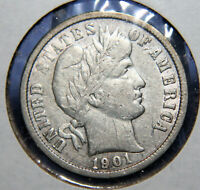 1901 BARBER DIME SILVER 10  FINE LIBERTY SHOWING  ID ET309