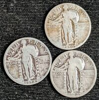 LOT OF 3 CIRCULATED FULL DATE SILVER STANDING LIBERTY QUARTERS 1926S,1928P,1930P