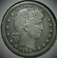 1908 S BETTER DATE BARBER SILVER QUARTER VF CONDITION  LOT C