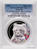 2020 MONGOLIA WOODLAND SPIRITS RACCOON DOG 1OZ .999 SILVER C