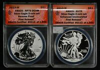 2013-W 1 OZ SILVER AMERICAN EAGLE 2-COIN SET - WEST POINT MINT ANACS 70'S Y169