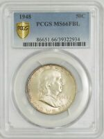 1948 FRANKLIN HALF 50C MINT STATE 66 FBL SECURE PLUS PCGS 942971-1