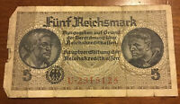 GERMAN BANKNOTE. 5 REICHSMARK. DATED 1940. PICK R138. COLLECTIBLE NOTE.