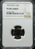 1970 NO S PROOF ROOSEVELT DIME COIN   NGC PF 68 CAMEO