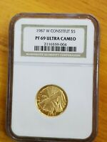 1987 US MINT CONSTITUTION $5 GOLD COIN NGC PF69 ULTRA CAMEO