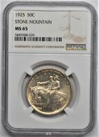 1925 STONE MOUNTAIN COMMEMORATIVE HALF DOLLAR 50C NGC MS 65