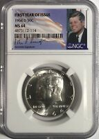 1964 D NGC MS64 SILVER KENNEDY HALF DOLLAR FIRST YEAR ISSUE