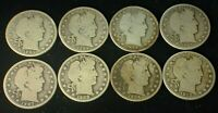 LOT OF 8 BARBER SILVER HALF DOLLARS G/VG CONDITION AS SHOWN