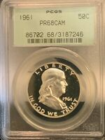 1961 PROOF FRANKLIN HALF DOLLAR GRADED PF68 CAMEO BY PCGS