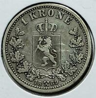 NORWAY KRONE 1889 FINE VERY FINE SOME SCRATCHES .1929 OUNCE SILVER