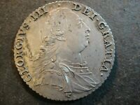 1787 GREAT BRITAIN GEORGE III SILVER SHILLING. EXTRA FINE DETAILS  OLD CLEANING
