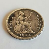 GREAT BRITAIN 1844 FOURPENCE   YOUNG VICTORIA BRITISH SILVER