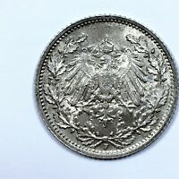 1915 F GERMANY 1/2 MARK COIN SILVER KM 17 UNC.