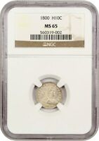 1800 H10C NGC MINT STATE 65 - LOVELY EARLY GEM - EARLY HALF DIME - LOVELY EARLY GEM