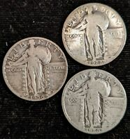 3 CIRCULATED FULL DATE SILVER STANDING LIBERTY QUARTERS 1926,1928,1930S A156