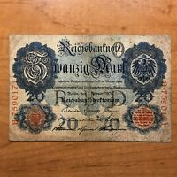 1908 GERMANY 20 MARKS BANKNOTE GERMAN EMPIRE PICK 31