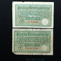 TWO 1939 GERMANY 50 PFENNIG WW2 NOTES FOR GERMAN OCCUPIED TERRITORIES PICK R135
