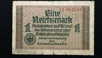 1939 GERMANY 1 MARK WW2 NOTES FOR GERMAN OCCUPIED TERRITORIES PICK R136B.