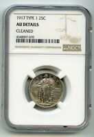 1917 TYPE 1 STANDING LIBERTY QUARTER  AU DETAILS  NGC CLEANE