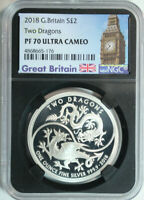 2018 GREAT BRITAIN .999 SILVER 2 POUNDS TWO DRAGONS $2 NGC PROOF 70 ULTRA CAMEO