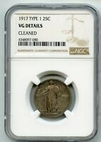 1917 TYPE 1 STANDING LIBERTY QUARTER  VG DETAILS  NGC CLEANE