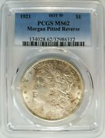 1921 SILVER MORGAN DOLLAR PCGS MINT STATE 62 VAM 41B PITTED REVERSE MINT ERROR  COIN