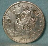 1877 CC CARSON CITY MINT TRADE DOLLAR BETTER GRADE WITH CHOPMARKS US SILVER COIN