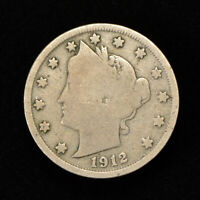1912-S 5C LIBERTY HEAD V NICKEL, GOOD COIN KEY DATE LOTY667
