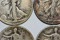 LOT OF FOUR 1934-1943 EXTRA FINE -VG GRADES LIBERTY WALKING SILVER HALF DOLLARS NUM4697