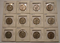 12 DIFFERENT SILVER STANDING LIBERTY QUARTERS 1926   1930 ST