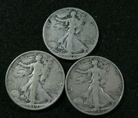 1927 S 1939 S 1940 S - WALKING LIBERTY HALF - SILVER  3 COINS TOTAL S MINT LOT
