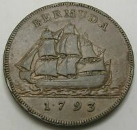 BERMUDA  BRITISH COLONY  1 PENNY 1793   COPPER   GEORGE III.   VF   2544