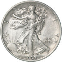 1933 S WALKING LIBERTY HALF DOLLAR 90 SILVER ABOUT UNCIRCULATED AU