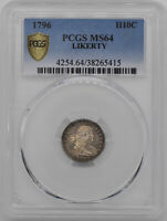 1796 DRAPED BUST H10C PCGS MINT STATE 64