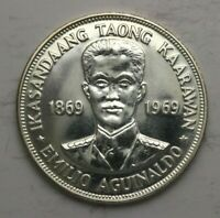 1969 PHILIPPINES SILVER PISO COIN 90605JR