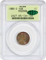 1909-S VDB 1C PCGS/CAC MINT STATE 65 RB OGH POPULAR KEY DATE, OLD GREEN LABEL HOLDER