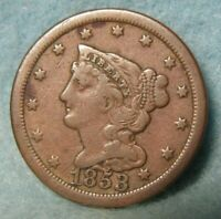 1853 BRAIDED HAIR HALF CENT BETTER GRADE DETAILS   UNITED STATES COIN